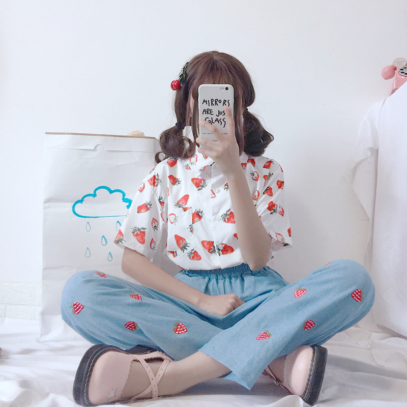 Women's Shirts Japan Kawaii Ladies Vintage Super Fruit Strawberry Print Shirt Female Korean Punk Harajuku Clothing For Women