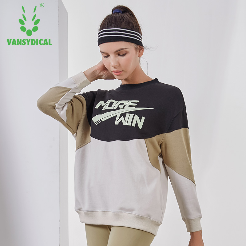 Vansydical Autumn Winter Sports Sweater Women's Gym Running Yoga Tops Long Sleeve Cotton Spliced Fitness Workout Pullovers цены