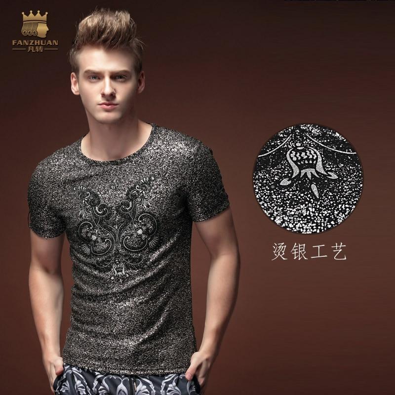 Безкоштовна доставка Літня чоловіча мода чоловіча мода випадкові короткими рукавами 2015 футболка особистість Harajuku панк срібло гаряча тонка