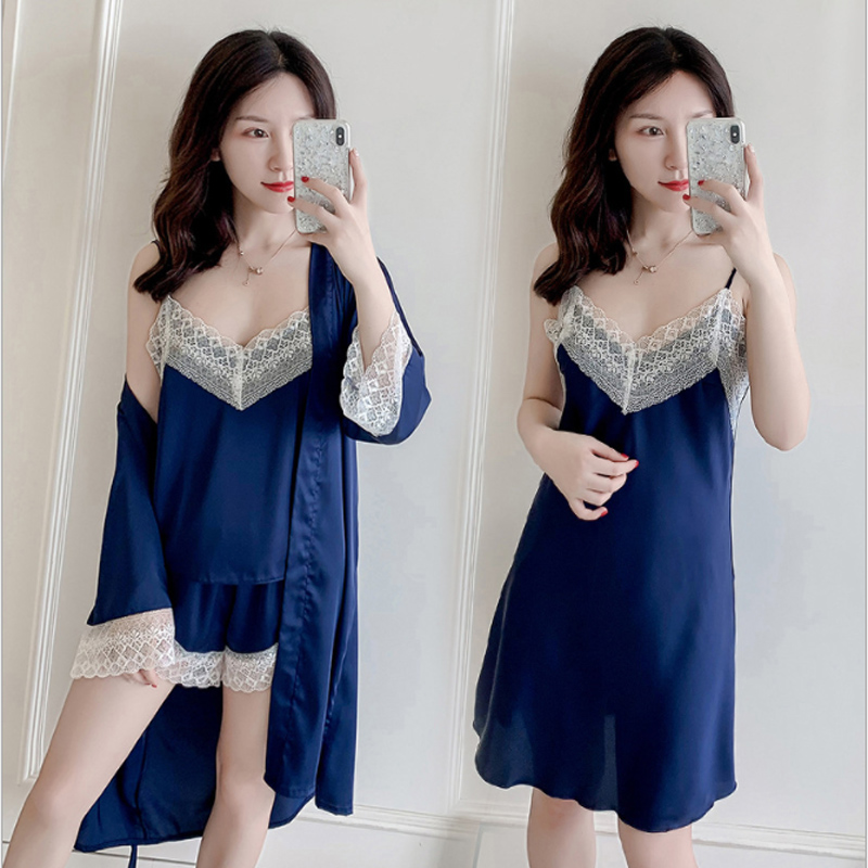4 Pieces Ladies Sexy Silk Satin Sleepwear Set Lace Robe Gown Set Robe+Nightdress+Slip top+Shorts Summer Nightwear Homewear(China)