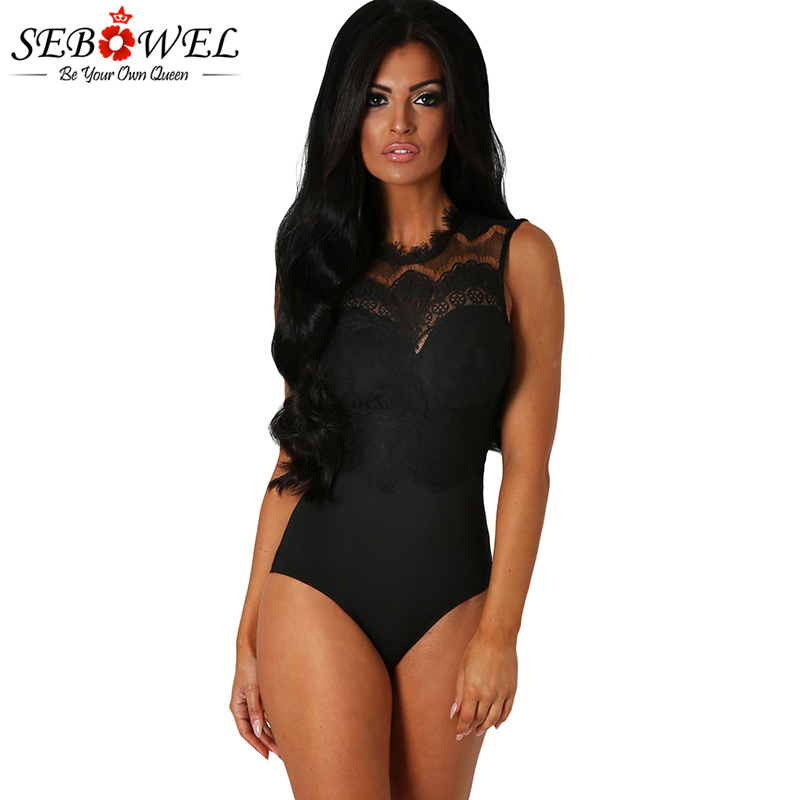 SEBOWEL Sexy Sleeveless Black Lace Bodysuit Women Sheer Lace Jumpsuits With Soft Padding Floral Lace Body Suit Macacao Feminino