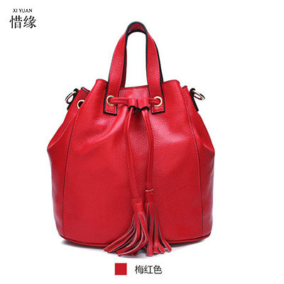 100% Women Genuine Leather Handbags Real Cowhide Leather Shoulder Bags Fashion Models Large Capacity Shopping Bags red/green 2017 new female genuine leather handbags first layer of cowhide fashion simple women shoulder messenger bags bucket bags