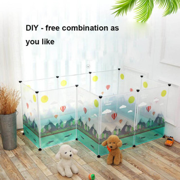 NEW Transparent pen pet dog pen pet pen DIY free combination animal cat crate cave multi-functional sleeping dog playing kennel 1