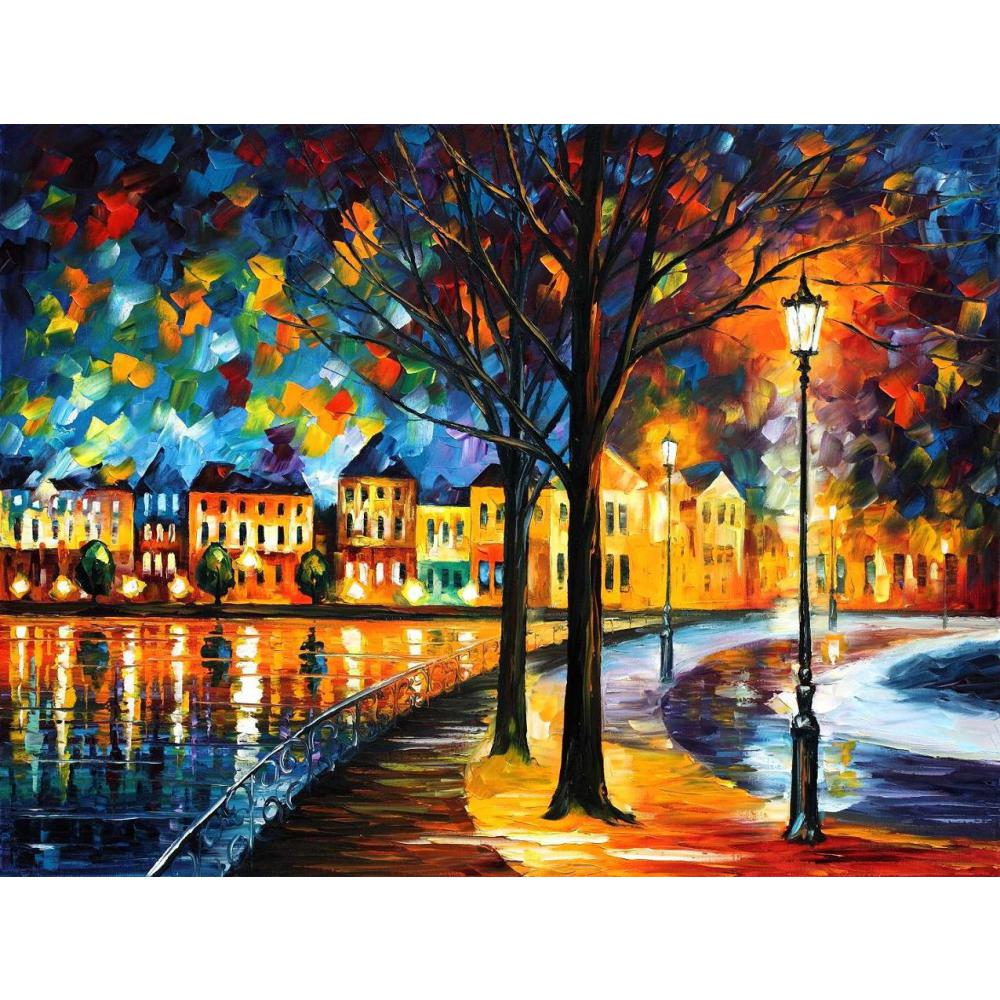 Contemporary art park by the river knife oil painting canvas beautiful landscape pictures for wall decor