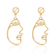 2017 New Arrival Abstract Stylish Hollow Out Face Dangle Earrings Girls Statement Drop boucles doreilles