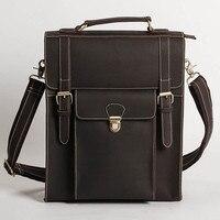 Hight Quality Genuine Leather Simple Designer Preppy Style Big Backpack Men Vintage Travel Backpacks Male Backbag