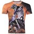 2016 Summer New Arrivals Gothic Punk Race Motorcycle Men's 3D Creative T-Shirt,Three D Short Sleeve Tee Shirt S-6XL,Plus Size