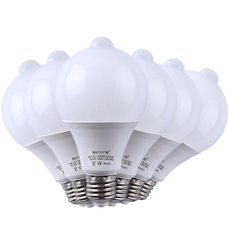 6 pièces 9 W PIR capteur de mouvement lumière E27 + lumière contrôle détecteur de mouvement LED ampoule Auto intelligent LED PIR infrarouge corps lampe sonore