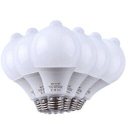 6 sztuk 9 W PIR czujnik ruchu światła E27 + sterowanie światłem żarówka LED czujnika ruchu Auto inteligentny Led PIR ciała na podczerwień dźwięku lampa