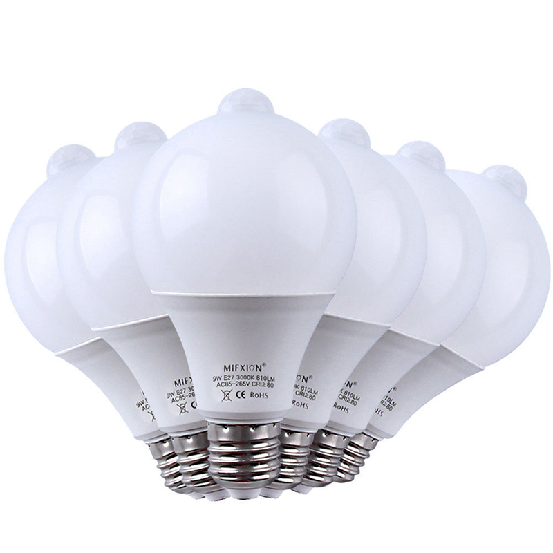 6PCS 9W PIR Motion Sensor Light E27+ Light Control Motion Sensor LED Bulb Auto Smart Led PIR Infrared Body Sound Lamp