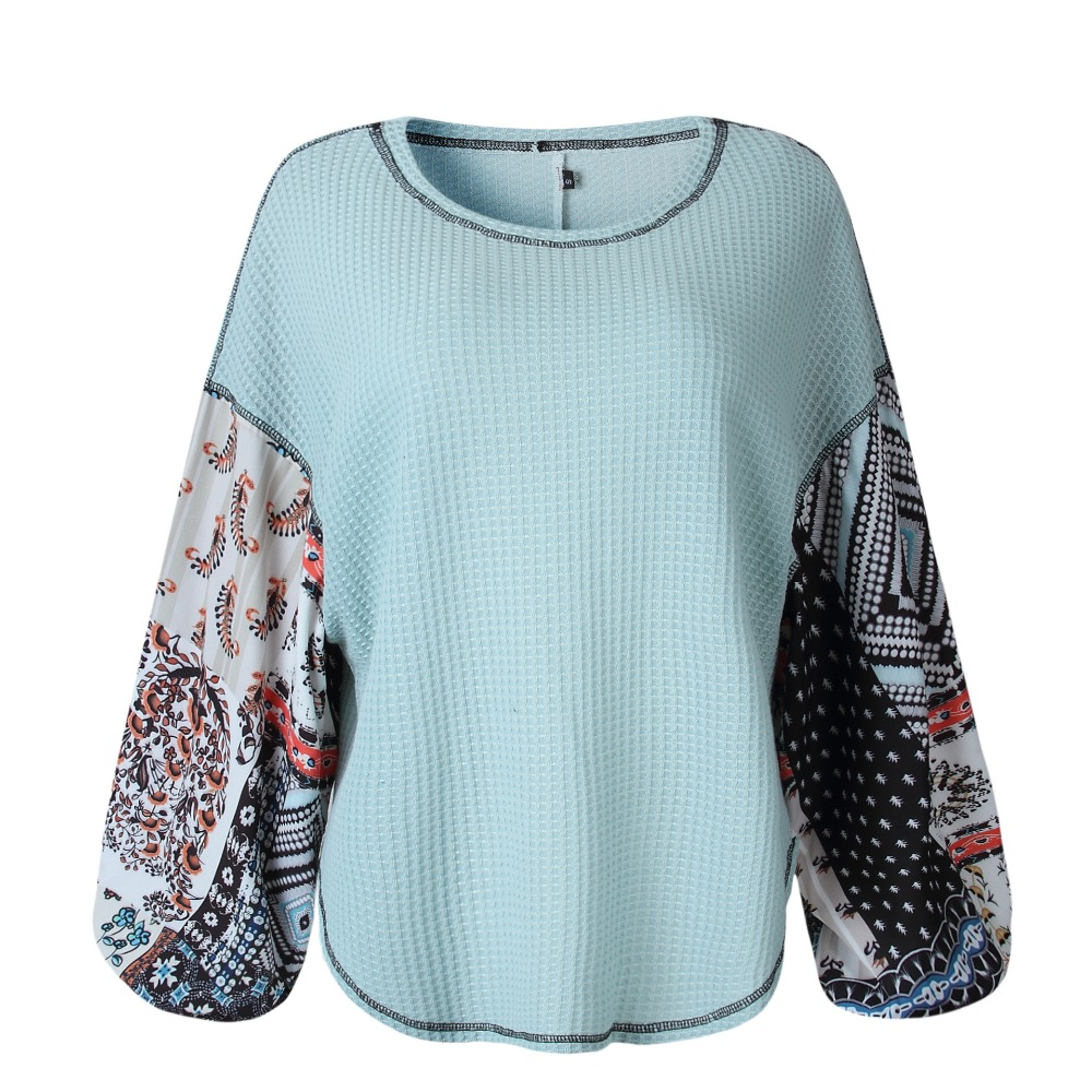 Women Autumn Winter Knitting Pullovers Tops 2018 Patchwork Print Long Sleeve O Neck Casual Fashion Loose Lady Street Sweater(China)