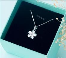 Actual. 925 Sterling Silver White Enamel Daisy Flower Plumeria Hawaii Necklace Pendant With CZ Zirconia Field chain 18″ gtlx608