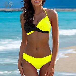 a29ee1f06bc Yellow bathing suit Plus size swimwear women bathers Bandage beach wear