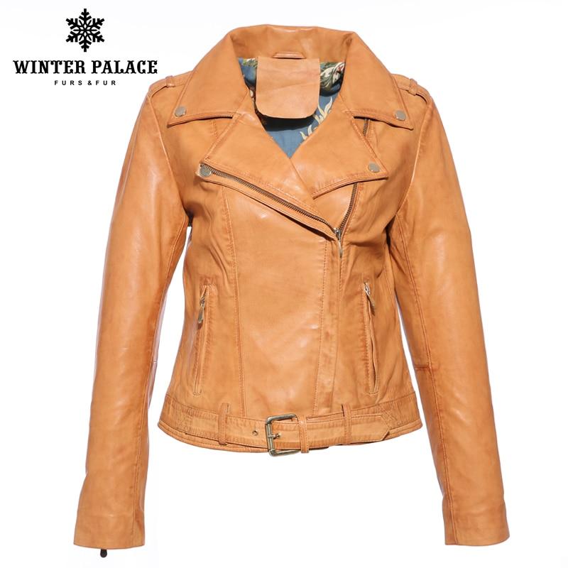 New style leather jacket women autumnGenuine leather leather jacket female short Sheepskin coat Light Brown Leather jacket Куртка