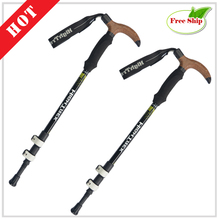 Best price 2pcs/lot Sticks for Nordic walking Folding Trekking pole Scandinavian telescope stick carbon cane ski bastones Truncheon ED09