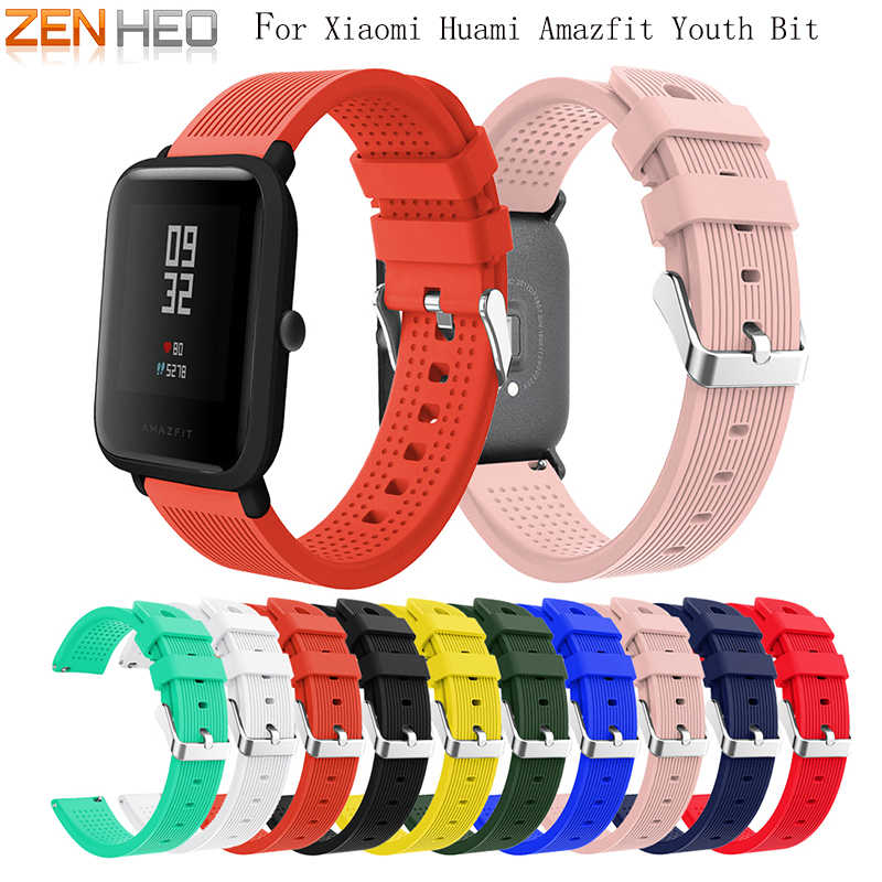 20mm Soft Silicone Wrist Strap For Xiaomi Huami Amazfit Bip BIT PACE Lite Youth Smart Watch Wearable Wrist Bracelet Watchband