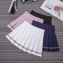 New Summer Women Skirts College Wind Color Stripes Harajuku  Loose High Elastic Sweet Girl Skirt