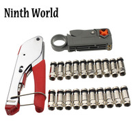 Coaxial Cable Manual Crimping Tool Set Kit For F Connector RG59 RG6 Coax Cable Crimper With