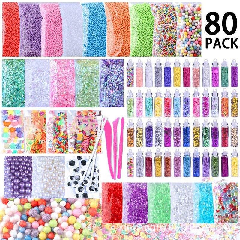 80pcs/pack DIY Foam Ball Granules Flat Beads Sequins Sugar Paper Slime Making Material Set
