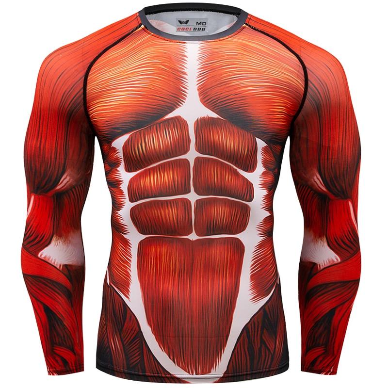 New men fashion compression Rash Guard MMA BJJ Tees round neck 3D skin Tight long sleeved   T     shirt   camiseta Tops muscle   t     shirt
