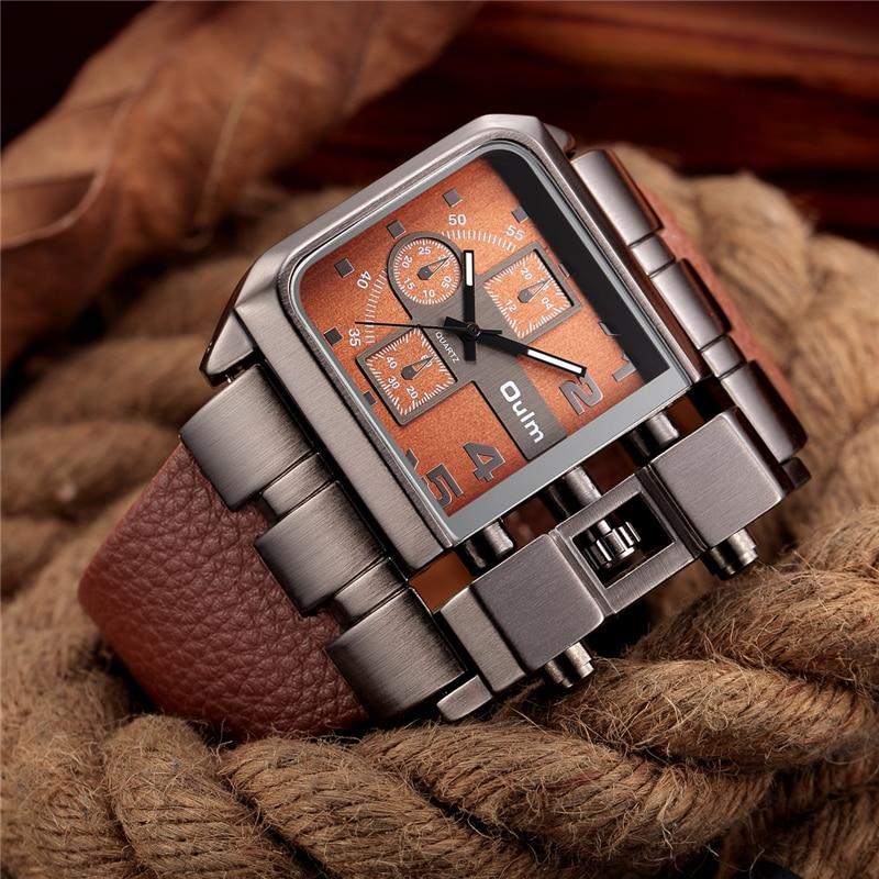 € 12.22 20% de réduction|Oulm montres hommes de luxe Design montre à Quartz hommes cadran carré PU bracelet en cuir mâle militaire Antique horloge