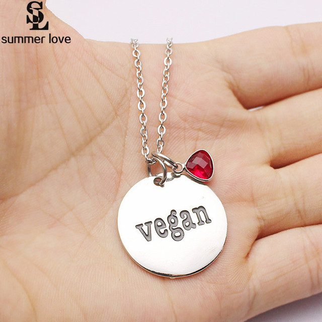 New 25mm Charm Vegan Necklace Pendant Crystal Stainless Steel Letter