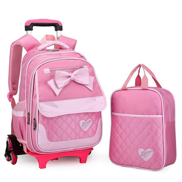 Rolling Backpack For S 2pcs Children Trolley School Bags With Bow Laptop Wheeled Book Bag Travel
