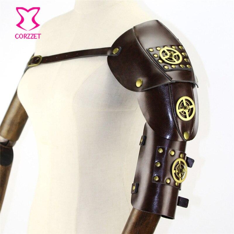 Corzzet Ретро коричневая искусственная кожа Золотое колесо и заклепки стимпанк рука теплые меховая накидка аксессуары костюм косплей