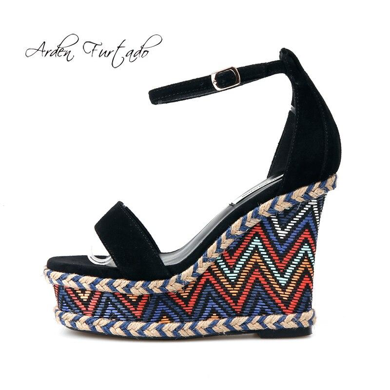 아덴 furtado 2018 여름 새로운 하이힐 12 cm 플랫폼 캐주얼 발목 스트랩 샌들 여성을위한 작은 크기 32 33 큰 크기 42-에서하이힐부터 신발 의  그룹 1