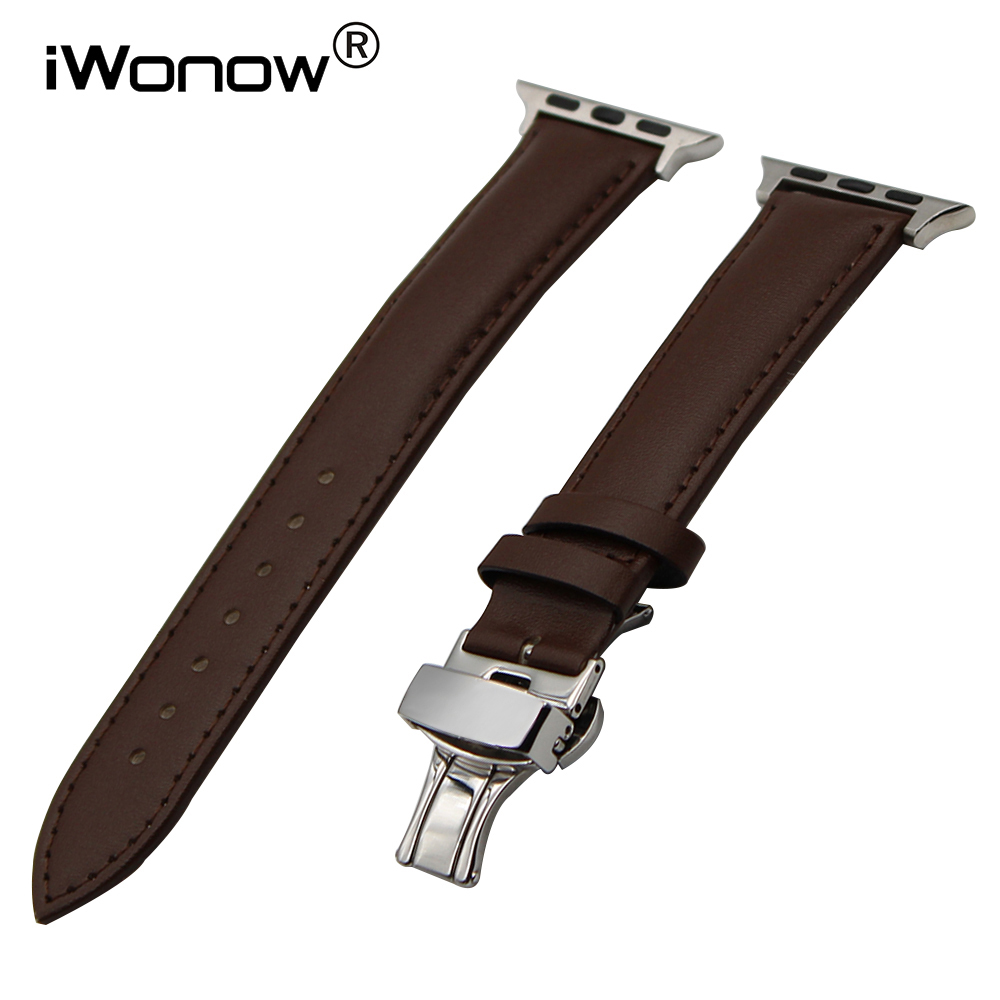 где купить Genuine Leather Watchband for iWatch Apple Watch 38mm 42mm Butterfly Buckle Band Wrist Strap Bracelet Black Brown по лучшей цене