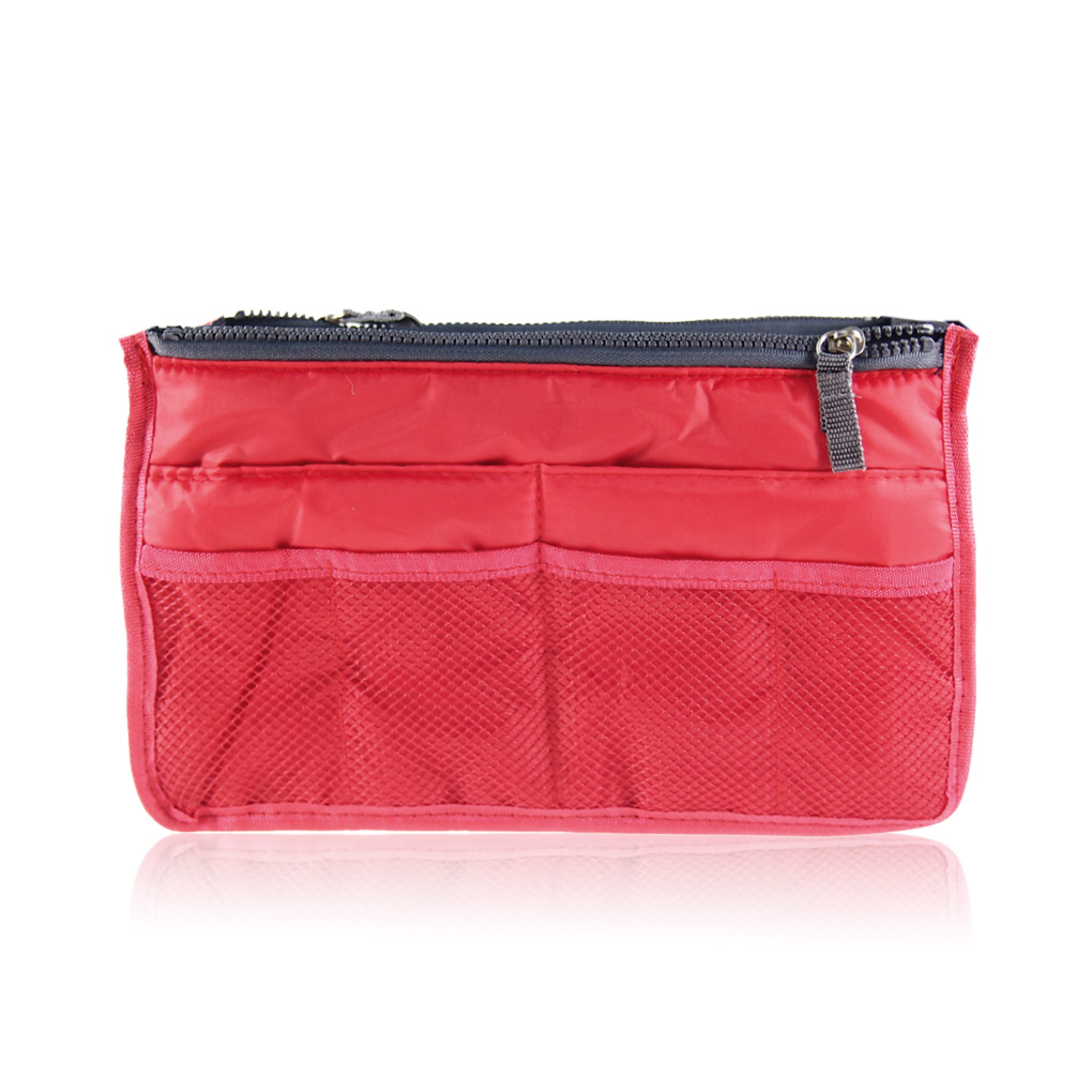 Portable storage bag Women double-zipper Organiser Purse Insert large liner Bag Tidy Travel pouch Travel Make Up Bags for Women
