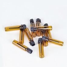 100 unids/lote 1ml 2ml de vidrio ámbar botella de Perfume recargable Mini de vidrio de muestra viales para aceites esenciales envase cosmético