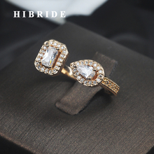 HIBRIDE Luxury Design Clear Cubic Zircon Women Wedding Ring Rose Gold-Color Adjustable Open Finger Ring Anillos R-189 hibride beauty leaf shape clear cubic zirconia white gold color women open adjustable finger ring anillos for party show r 197