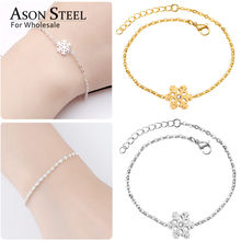 ASONSTEEL Female Bracelets Bangle Snowflake Owl Heart Gold/Silver 316L Stainless Steel Curb Cuban Link Chain Bracelet Christmas(China)