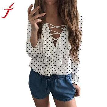 Spring Autumn Cross Front Blouse Women Ladies Long Sleeve Loose Blouse Polka Dot V Neck Chiffon Ruffle Blouse Shirt Tops Блузка