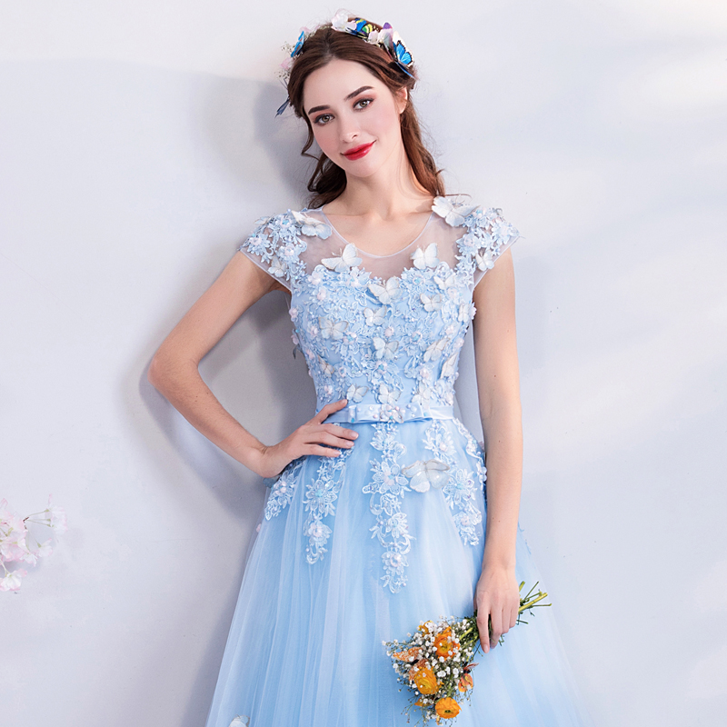Image 5 - Walk Beside You Tulle Prom Dresses Blue Lace Appliques Beading A 