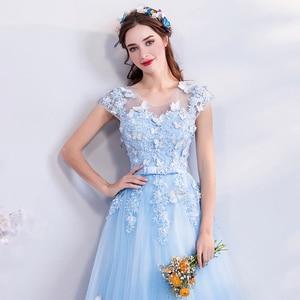 Image 5 - Walk bside You vestido azul De tul para graduación, Apliques De encaje con cuentas, Vestidos largos De corte en A, Vestidos De Noche De mariposa