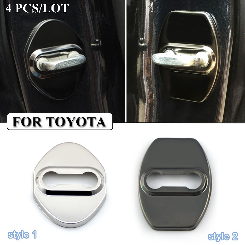 Ceyes Door Lock Cover Stainless Steel Car Styling Case For Toyota Corolla Camry Avensis Rav4 Yaris Auris Accessories Car-Styling universal pu leather car seat covers for toyota corolla camry rav4 auris prius yalis avensis suv auto accessories car sticks