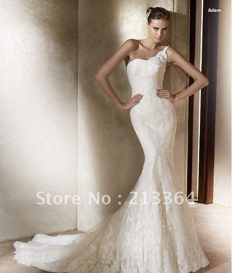 Discount Free Shipping Cwds078 One Shoulder With: Free Shipping Tulle+Lace One Shoulder Mermaid Custom Made