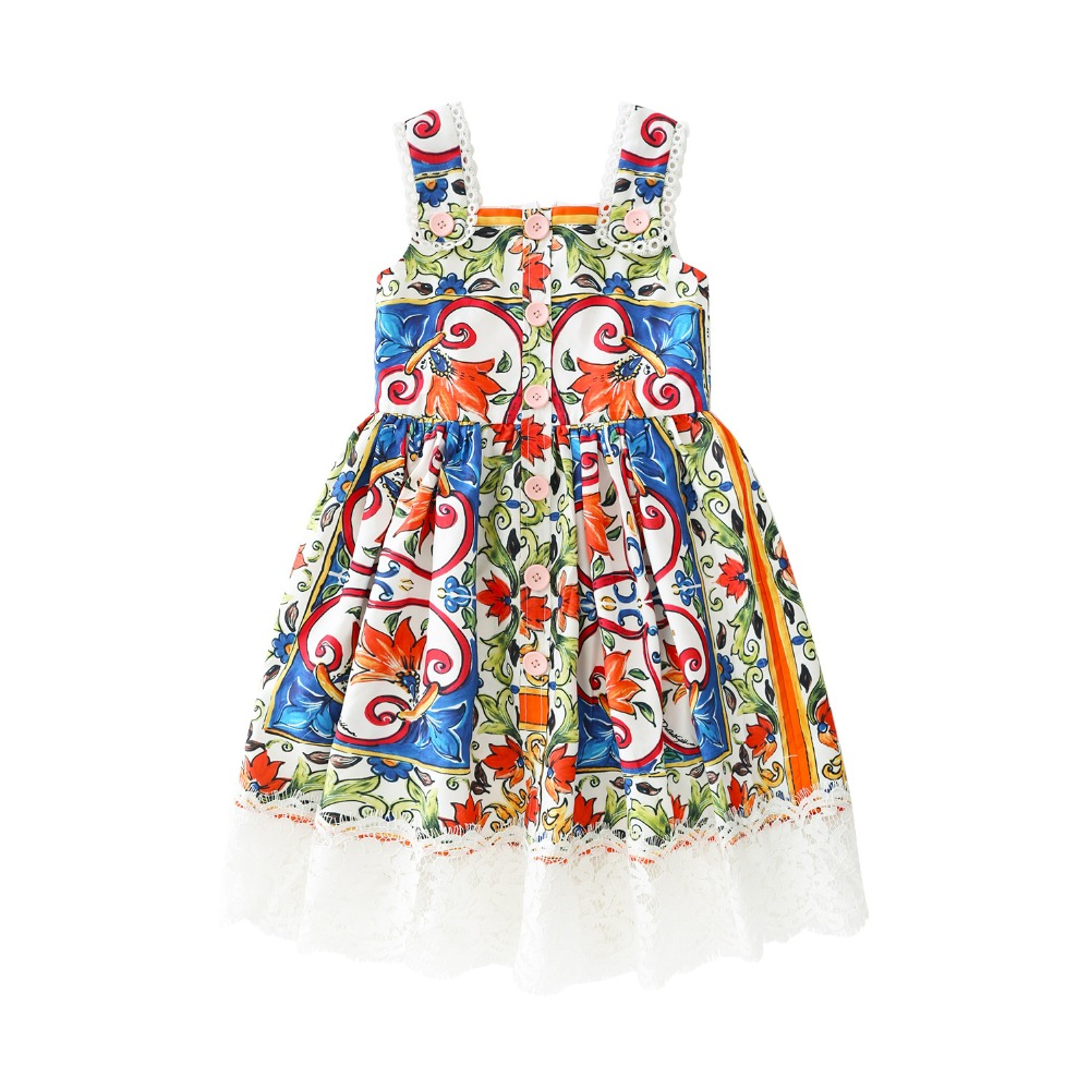 Summer quality girls strap Dress for baby kids vintage Vestidos Children brand Clothes floral print embroidery lace 4 to 11 yrsSummer quality girls strap Dress for baby kids vintage Vestidos Children brand Clothes floral print embroidery lace 4 to 11 yrs