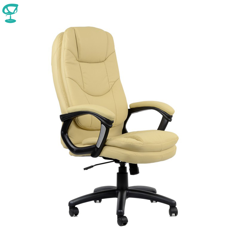 95165 Beige Office Chair Barneo K-145 Eco-leather High Back Chrome Armrests With Leather Straps Free Shipping In Russia