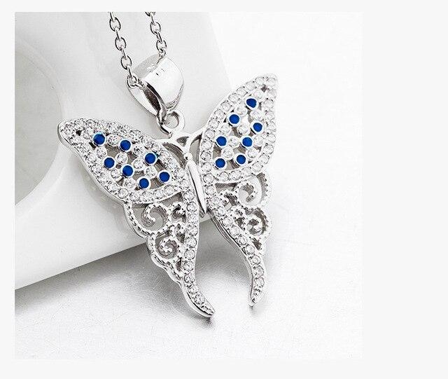 Горячая Взрыв models100 % s925 стерлингового серебра циркон винтаж бабочки Цвет смешивания кулон & ожерелья ювелирных изделий Рождественский подарок N0111
