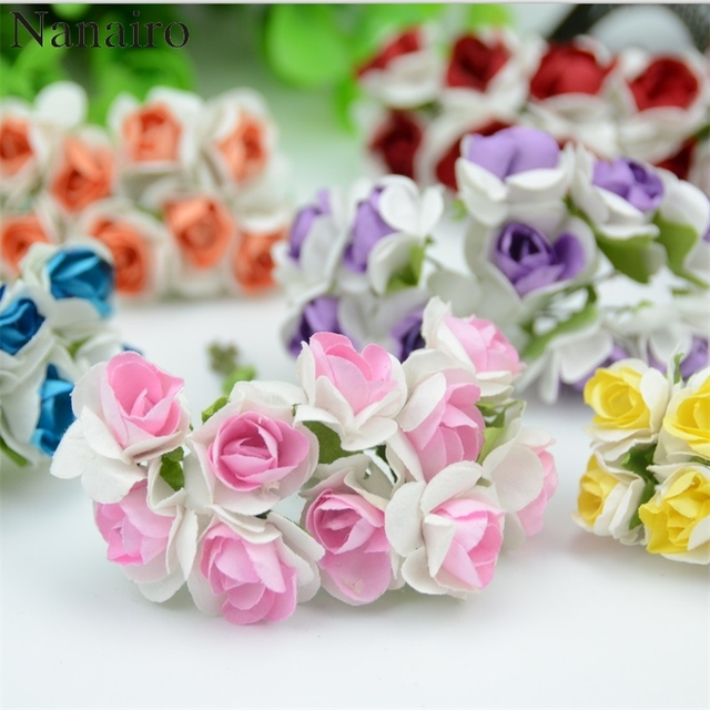 100pcs/lot 2cm Mini Paper Rose Flowers Bouquet Wedding Decoration ...