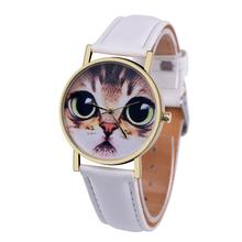 SmileOMG Cat Pattern Leather Band Analog Quartz Vogue Wrist Watch,Aug 17