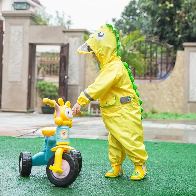 2-9 Years Children Fashionable Waterproof Jumpsuit Raincoat Hooded Cartoon Dinosaur Kids One-Piece Rain Coat Baby Tour Rain Gear