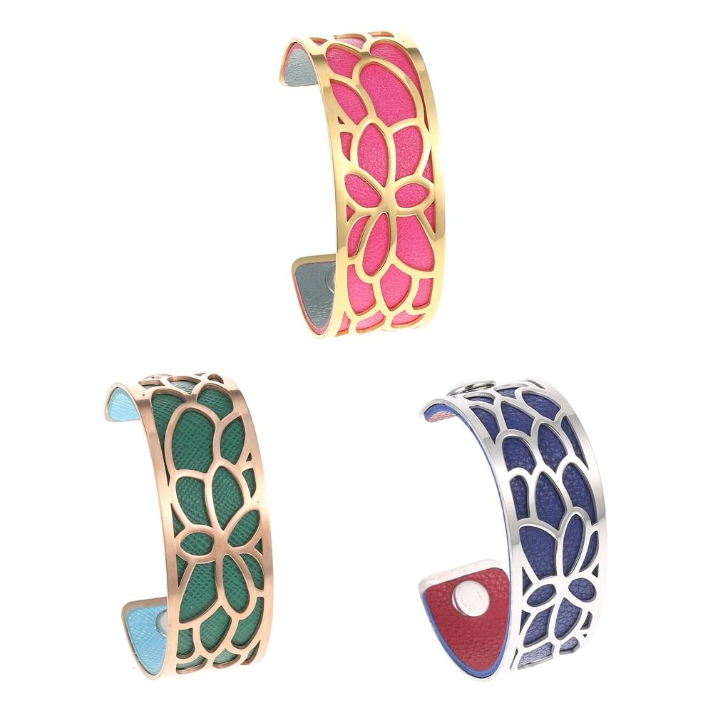 Legenstar Love cuff Bracelets for Women Gold Stainless Steel Cuff Bangle Flower Jonc Argent Pulseiras