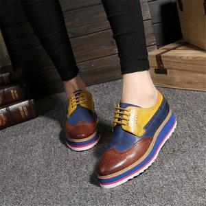 Image 2 - Genuine sheepskin leather brogue designer vintage yinzo flat shoes handmade flat platform red oxford shoes for women 2020 spring