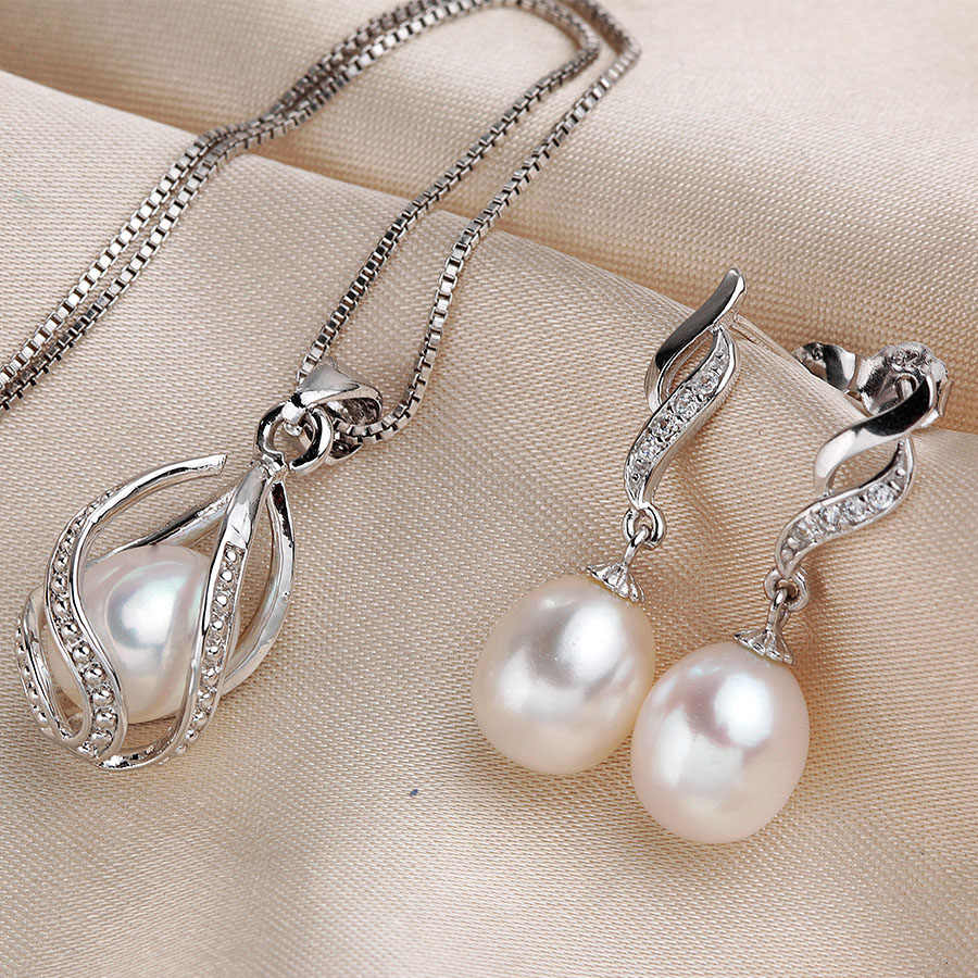 LINDO sterling-silver-jewelry hot selling natural pearl necklace and earrings for women 8-9mm high quality pearl jewelry 4 color