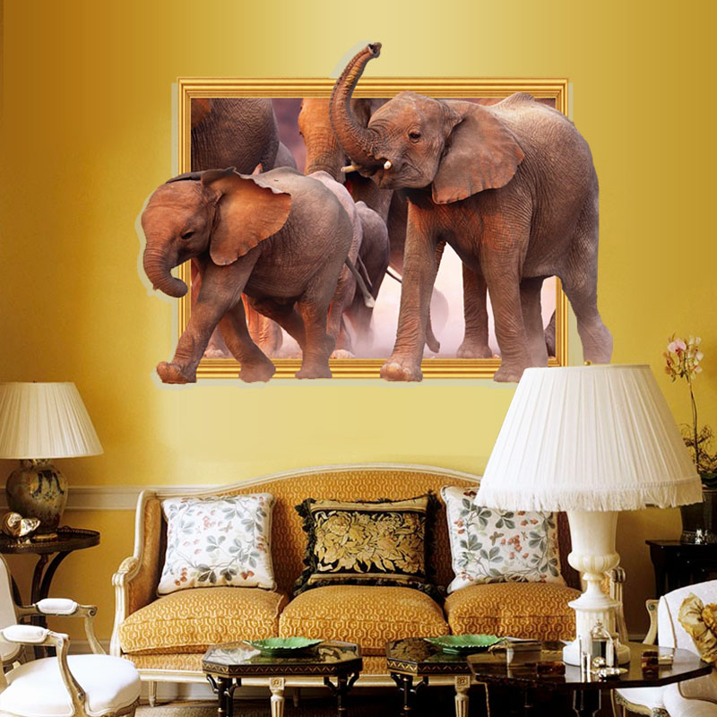 [Fundecor] new 3D window elephants wall stickers for kids rooms decals diy home decoration animal stickers on the wall