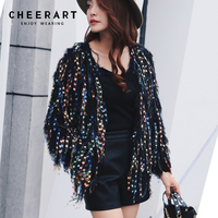 Cheerart Autumn 2018 Sequin Cardigan Sweater Knit Open Cardigan Tassel Coat Women Tricot Pull Femme Pink/Black/White/Grey